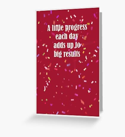 A Little Progress Each Day Red Confetti Design Greeting Card