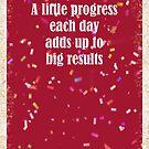 A Little Progress Each Day Red Gold Confetti Design by hurmerinta