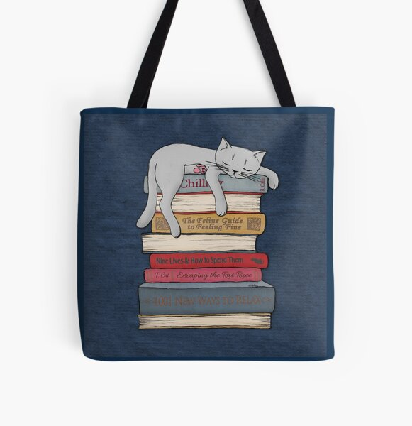 How to Chill Like a Cat All Over Print Tote Bag