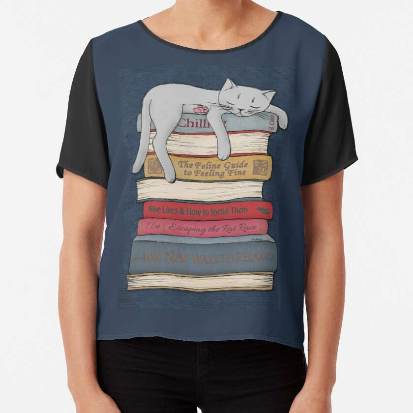 How to Chill Like a Cat Chiffon Top