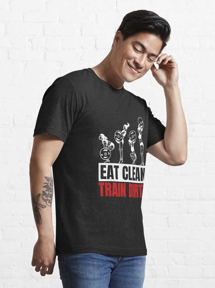 Alternate view of Eat Clean Train Dirty - Vegan Bodybuilding Essential T-Shirt
