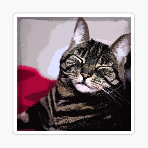Sleepy Kitty Art Sticker