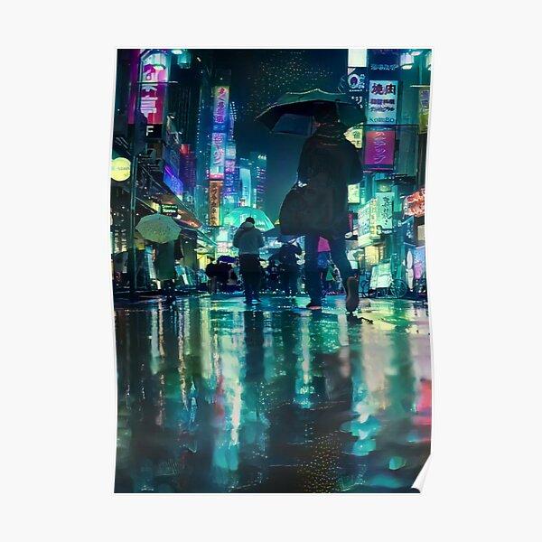Rainy Tokyo At Night Poster