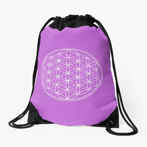 Lilac Flower of Life Drawstring Bag