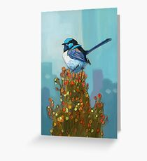 Blue Wren on Bush Greeting Card