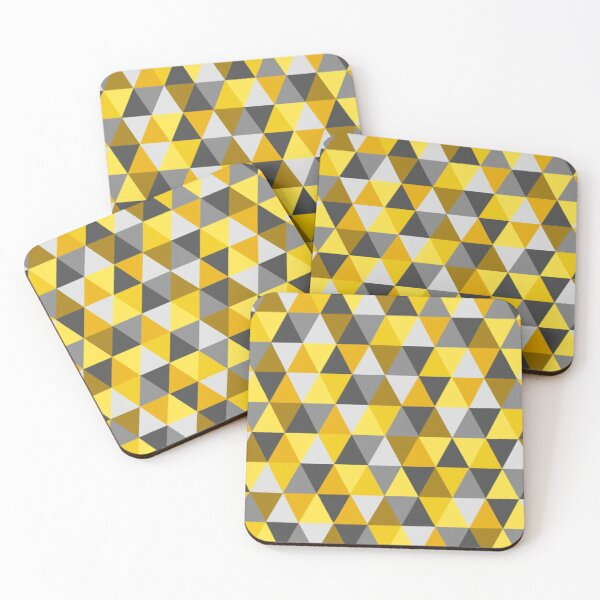 Grey and Mustard Geometric  Coasters (Set of 4)