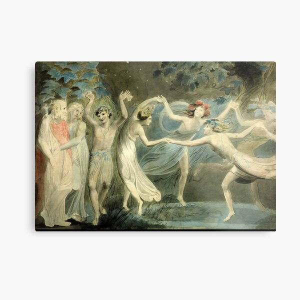 BLAKE. Oberon, Titania and Puck with Fairies Dancing. William Shakespeare, A Midsummer Night's Dream. Metal Print