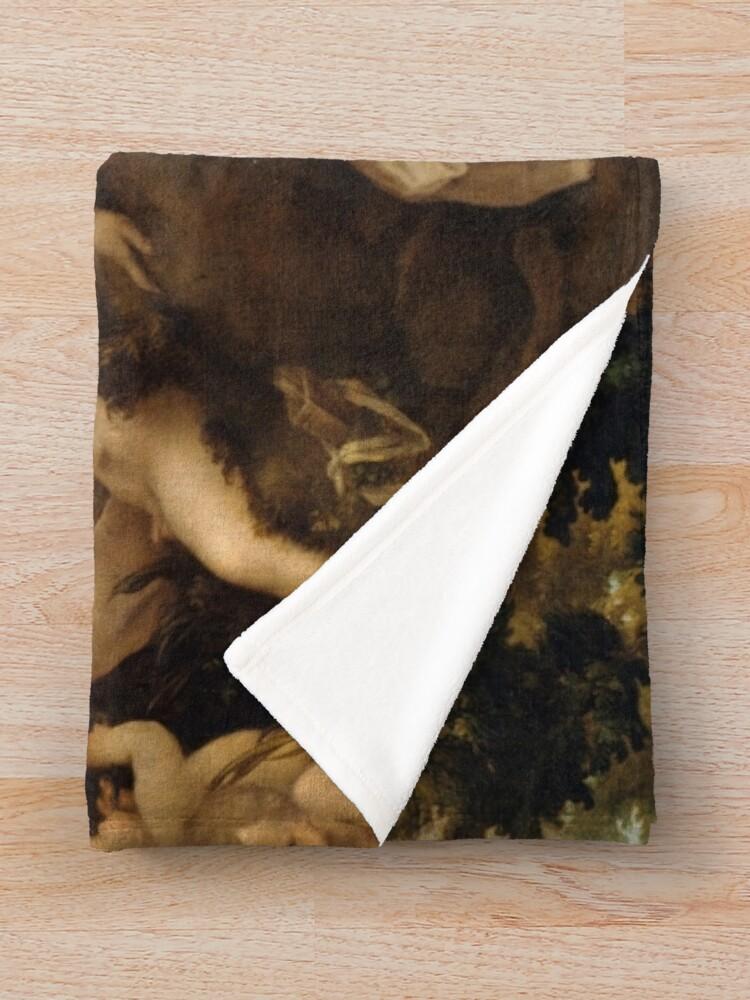 Alternate view of Leda and the Swan, Painting by Antonio da Correggio, oil, canvas, Gemäldegalerie, Berlin,  scenes, seduction, Jupiter, Leda, Swan, Renaissance, Mannerism, Italian Renaissance Throw Blanket