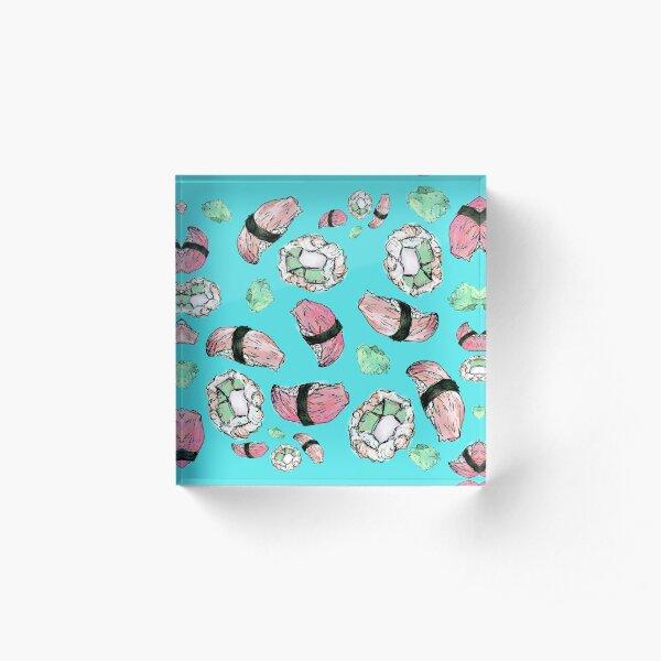 Illustrated sushi and wasabi Acrylic Block