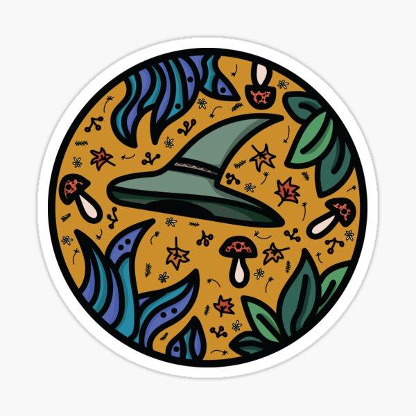 Green Witch Nature Halloween Circle Sticker