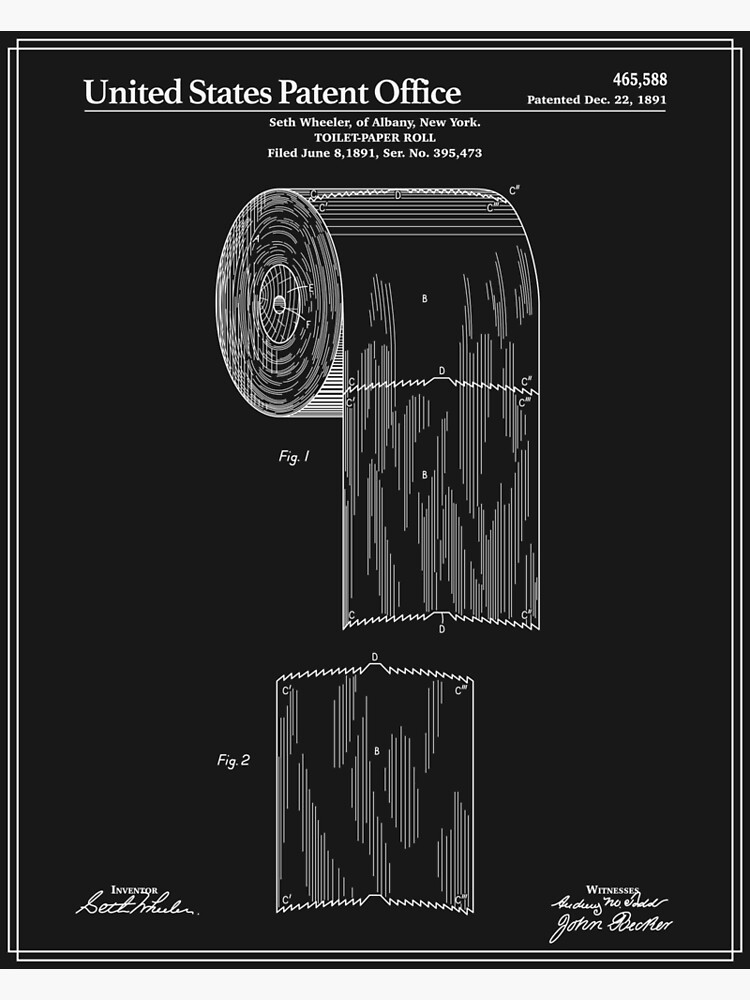 Toilet Paper Roll Patent - Black by FinlayMcNevin