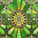 Stained Glass in Green and Gold - customer request by micklyn