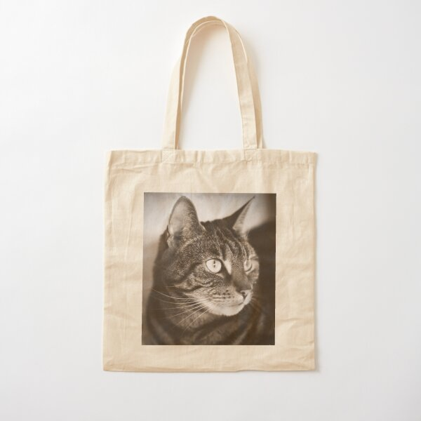 Vintage Tabby Cat Photography Cotton Tote Bag