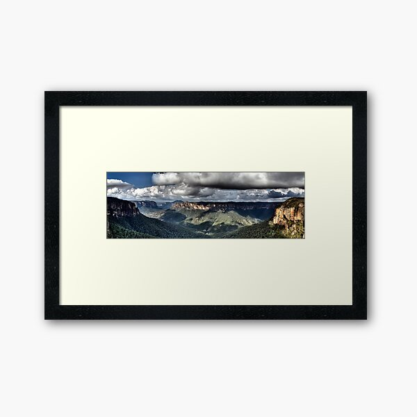 Grose Valley from Govetts Leap lookout Blue Mountains Framed Art Print