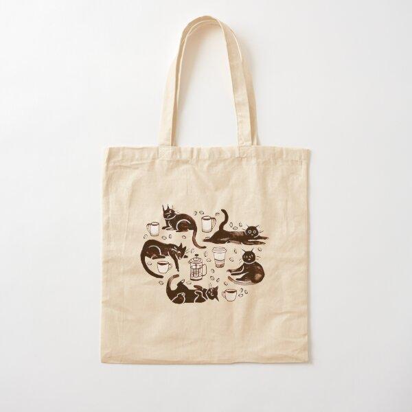 Gouache Black Cats & Coffee Cotton Tote Bag