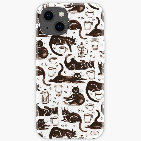 Gouache Black Cats & Coffee iPhone Soft Case