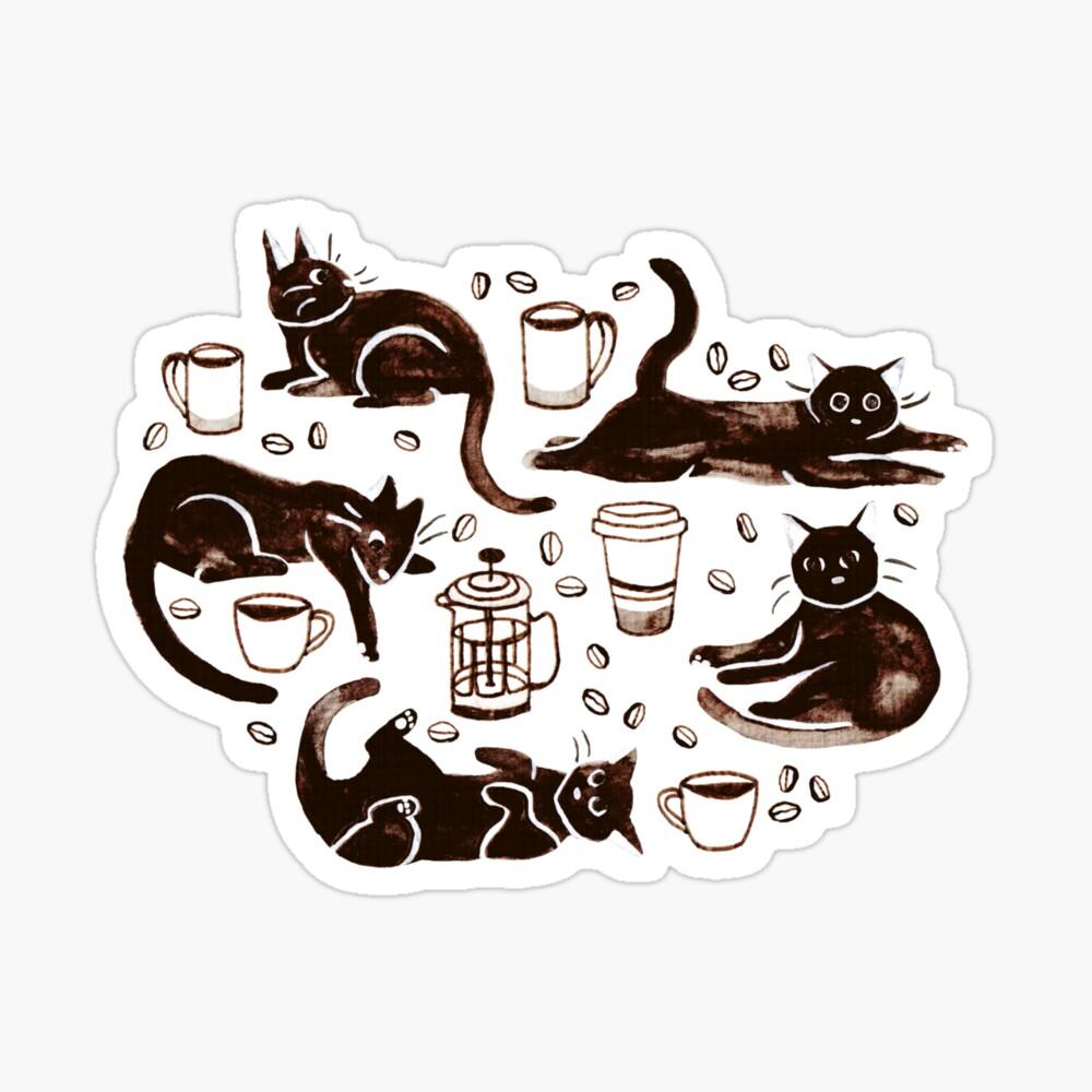 Gouache Black Cats & Coffee Sticker