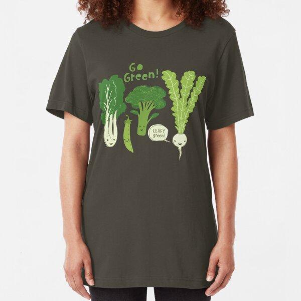Go Green! (Leafy Green!) Happy Garden Vegetables Slim Fit T-Shirt