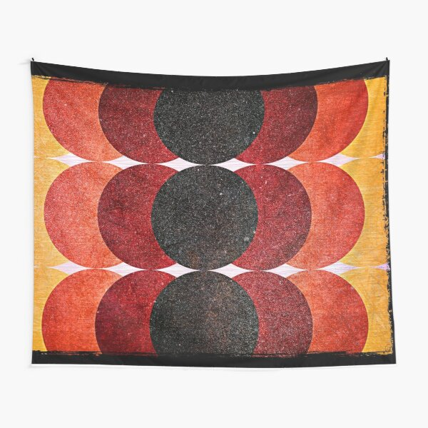 Retro 70s Circles Pattern  Tapestry