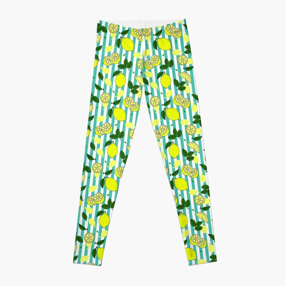Pretty Summer Lemons on Teal Blue Stripes Pattern Leggings