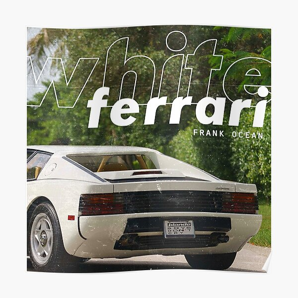White Ferrari Poster