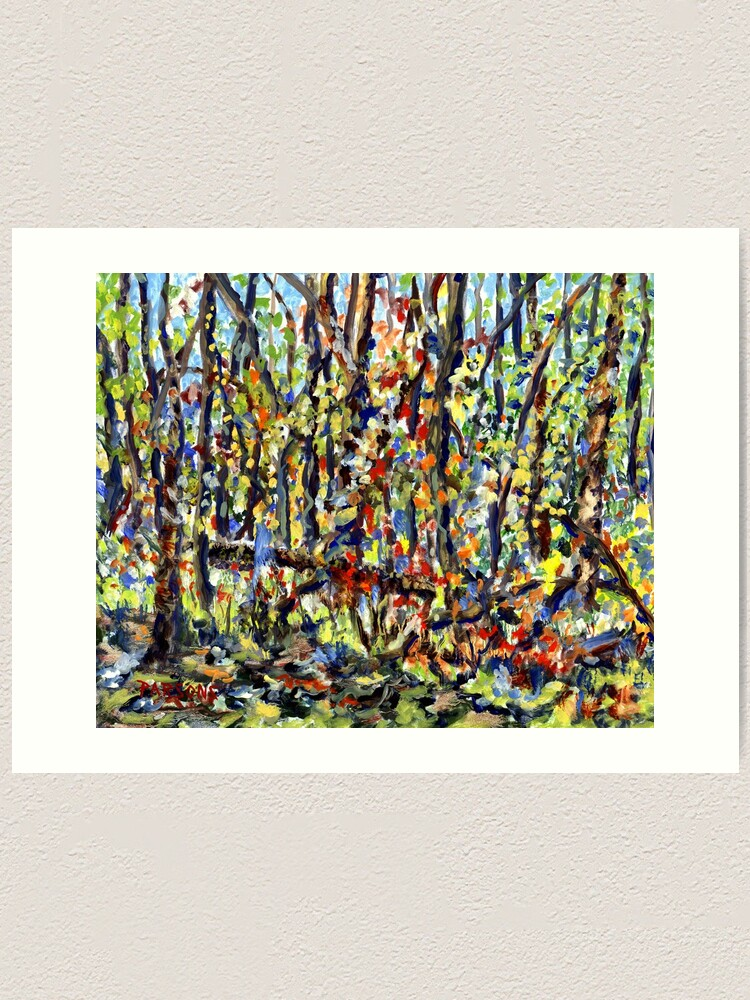 Alternate view of Bedminster Woods in Autumn. From original impressionist oil painting by Pamela Parsons. Fall foliage, Bucks County, forest, trees, Pennsylvania Art Print