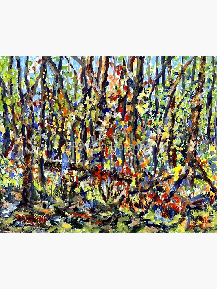 Bedminster Woods in Autumn. From original impressionist oil painting by Pamela Parsons. Fall foliage, Bucks County, forest, trees, Pennsylvania by parsonsp