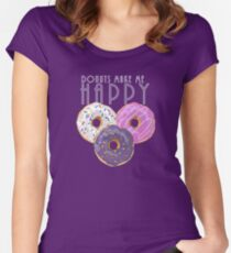 Donuts Make Me Happy Women's Fitted Scoop T-Shirt