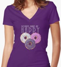Donuts Make Me Happy Women's Fitted V-Neck T-Shirt