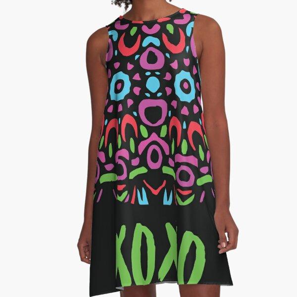 Floral Abstract Multi Colour Mandala 5a A-Line Dress