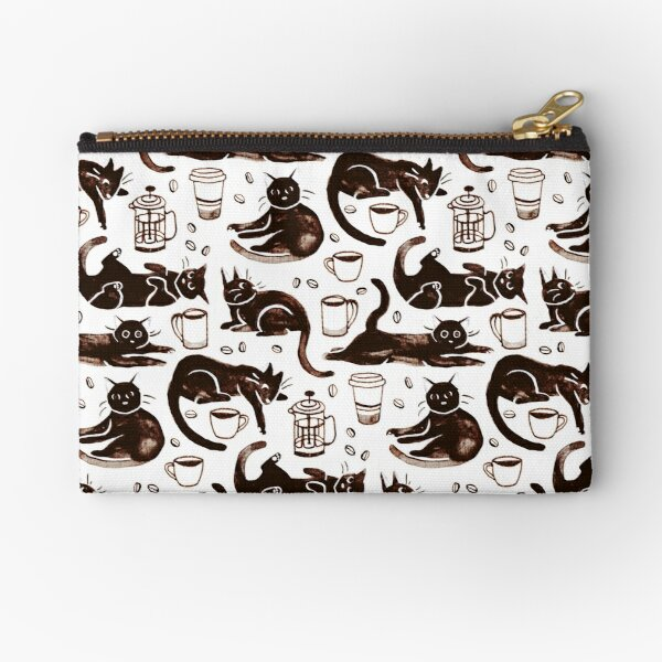 Gouache Black Cats & Coffee Zipper Pouch