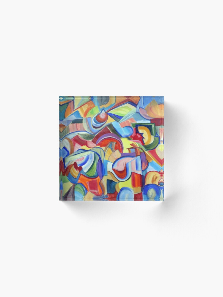 Alternate view of Around the Town. An abstract expressionist, geometric, acrylic painting by Pamela Parsons Acrylic Block