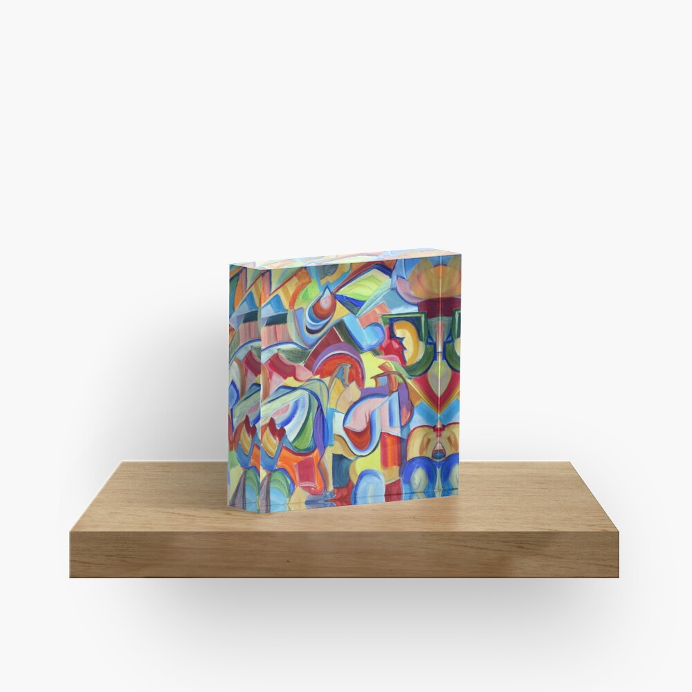 Around the Town. An abstract expressionist, geometric, acrylic painting by Pamela Parsons Acrylic Block