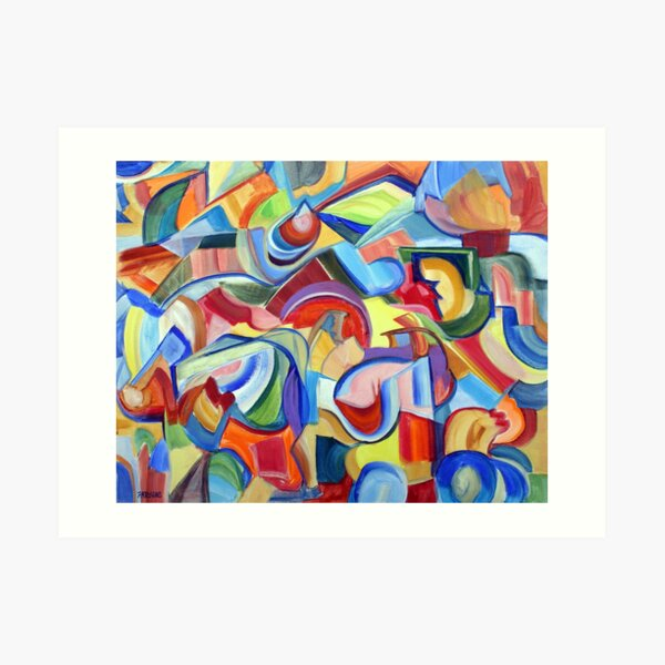 Around the Town. An abstract expressionist, geometric, acrylic painting by Pamela Parsons Art Print