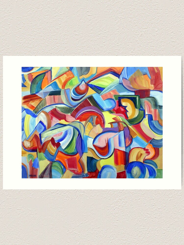 Alternate view of Around the Town. An abstract expressionist, geometric, acrylic painting by Pamela Parsons Art Print