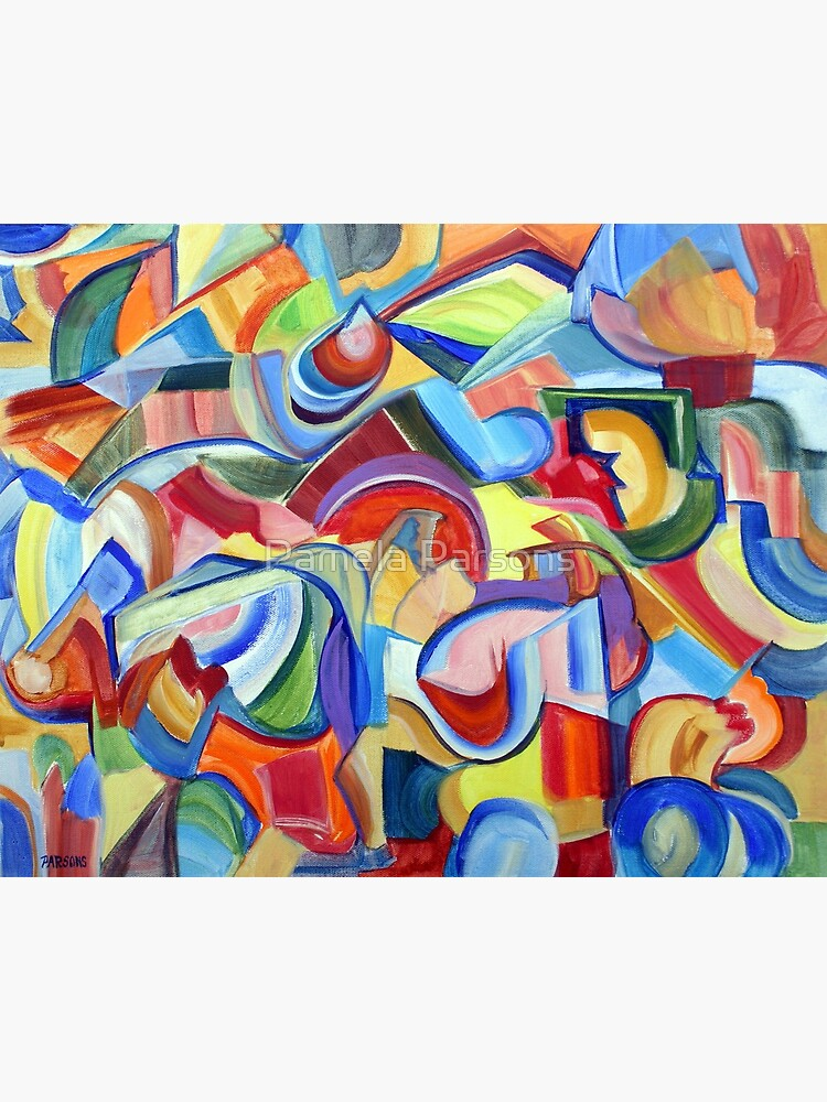 Around the Town. An abstract expressionist, geometric, acrylic painting by Pamela Parsons by parsonsp
