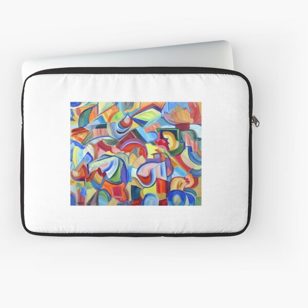 Around the Town. An abstract expressionist, geometric, acrylic painting by Pamela Parsons Laptop Sleeve