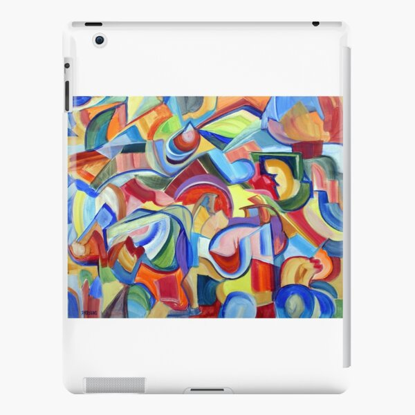 Around the Town. An abstract expressionist, geometric, acrylic painting by Pamela Parsons iPad Snap Case