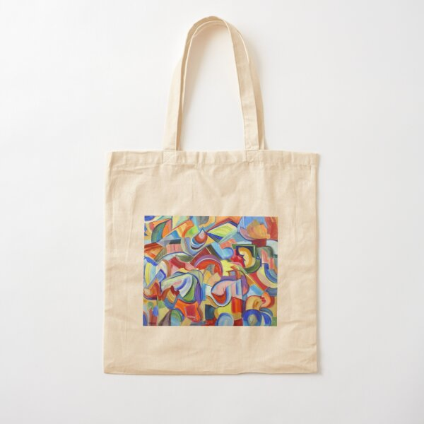 Around the Town. An abstract expressionist, geometric, acrylic painting by Pamela Parsons Cotton Tote Bag