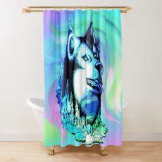 Husky Aurora Borealis Dream Shower Curtain