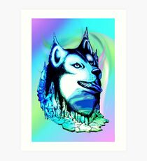 Husky Aurora Borealis Dream Art Print