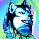 Husky Aurora Borealis Dream by BluedarkArt