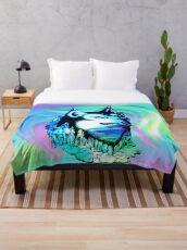 Husky Aurora Borealis Dream Throw Blanket