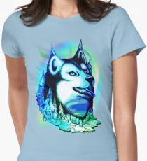 Husky Aurora Borealis Dream Fitted T-Shirt