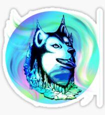 Husky Aurora Borealis Dream Glossy Sticker