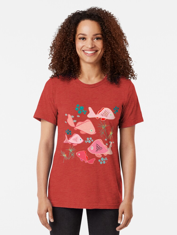 Alternate view of Origami Koi Fish Tri-blend T-Shirt