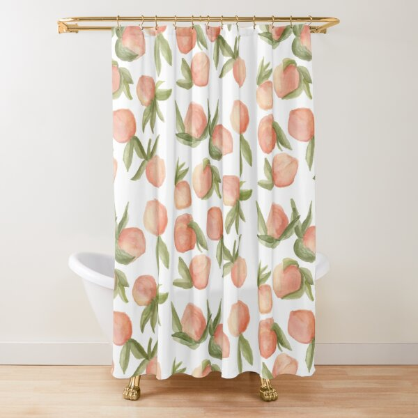 Watercolor Peaches Shower Curtain