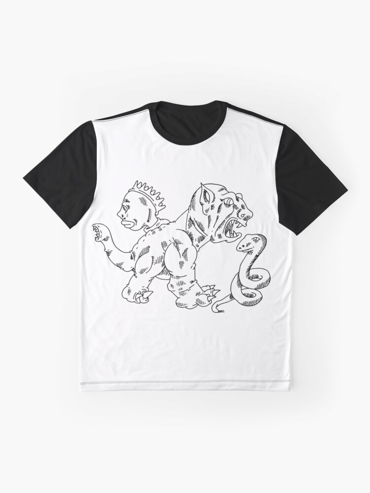 Alternate view of a dragon dog, a snake, and the face of a woman Graphic T-Shirt