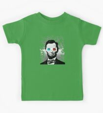 Abraham Lincoln - 3D (2) (Black) Kids Tee