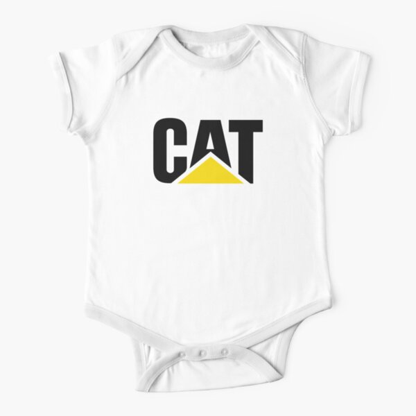 Caterpillar Potrait Logo Black Yellow Short Sleeve Baby One-Piece